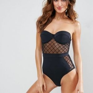 ASOS Diamond Mesh Cupped Swimsuit